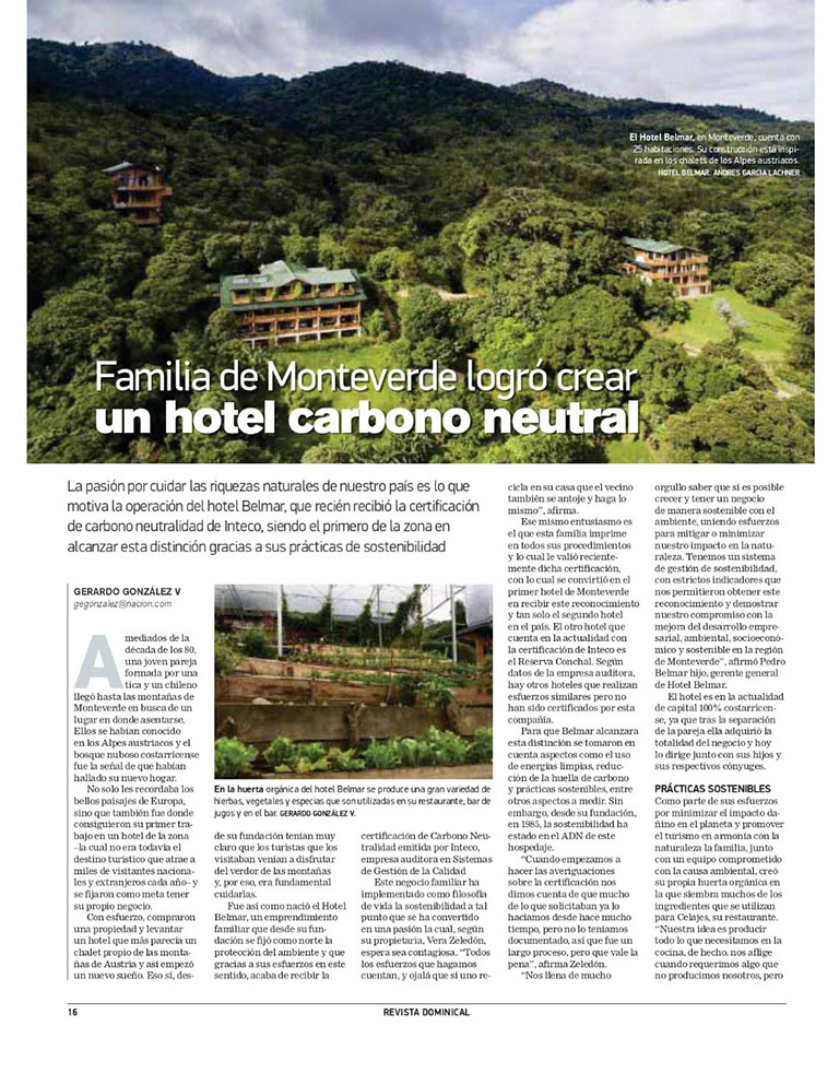 Publication about Hotel Belmar in La NANCION