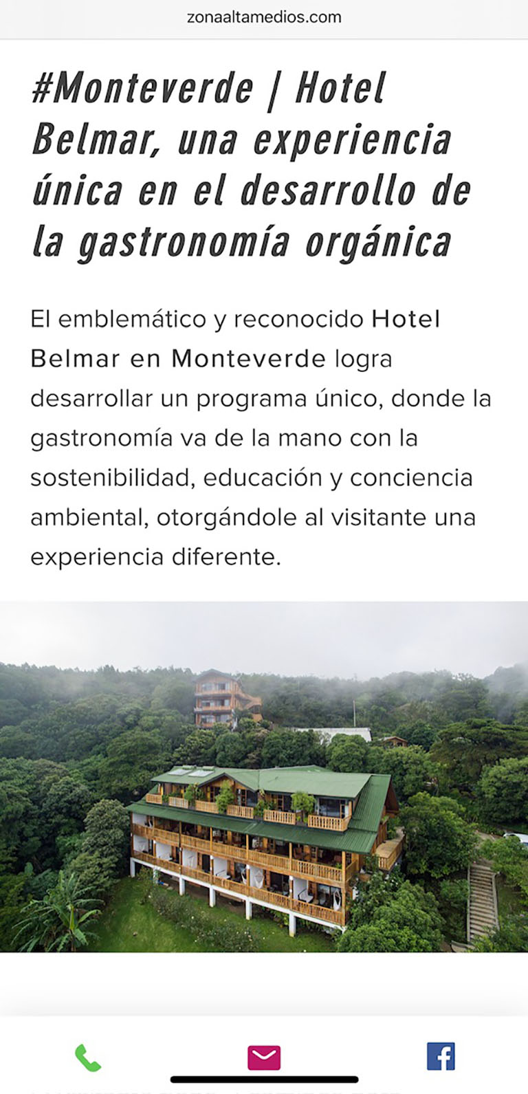 Publication about Hotel Belmar in Zona Alta Medios