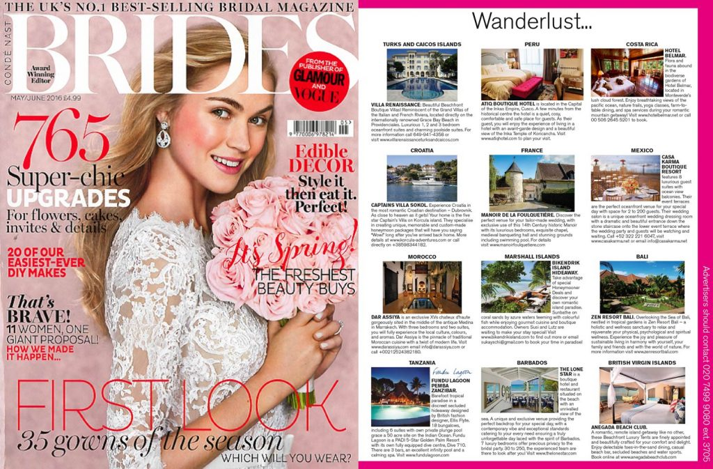 Publication about Hotel Belmar in Brides Magazine