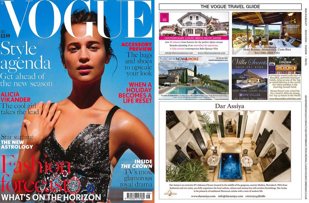 Publication about Hotel Belmar in Vogue Magazine