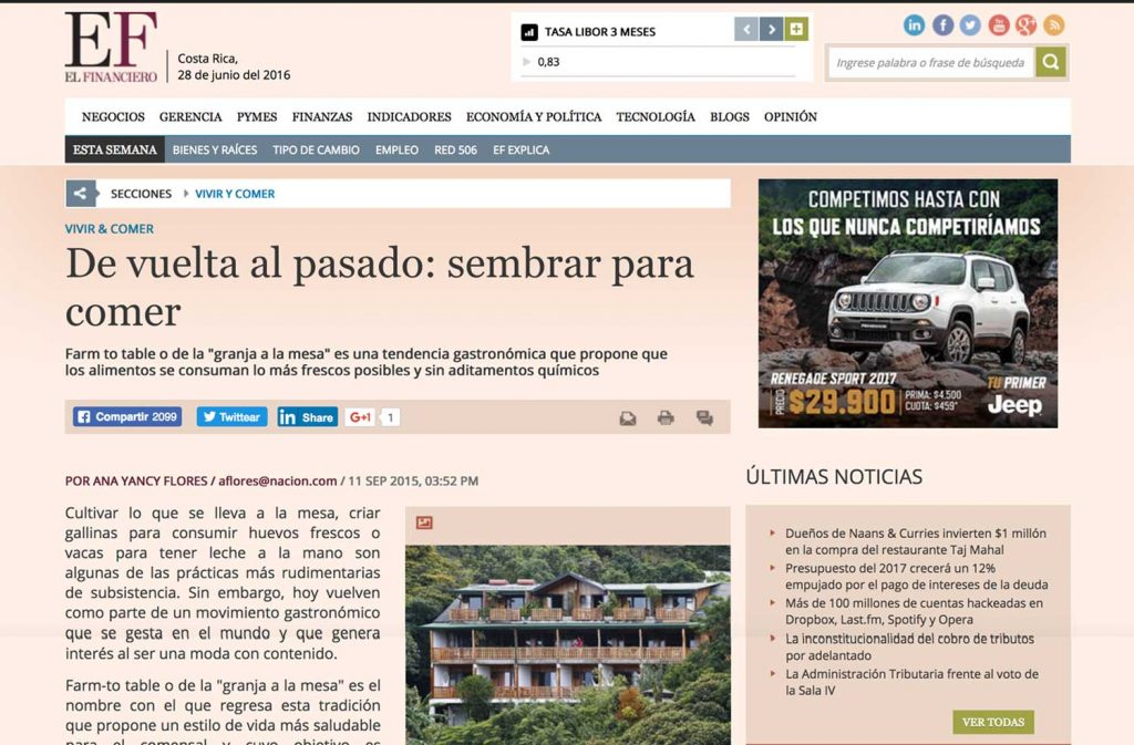 Publication about Hotel Belmar on website El Finaciero